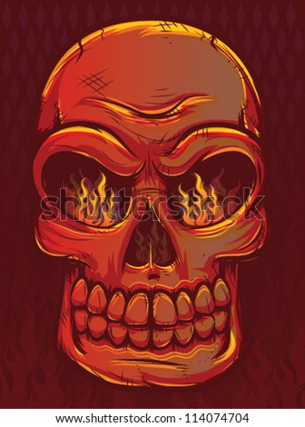 Fiery Skull with Flames - stock vector