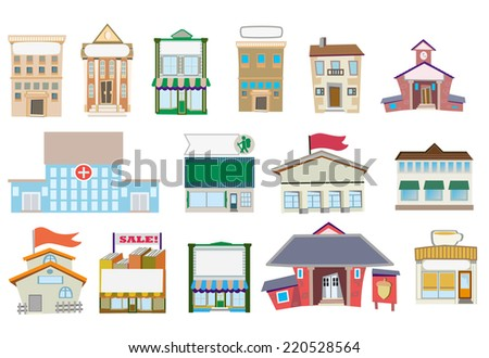 Fifteen buildings  on transparent background / Vector illustration - stock vector