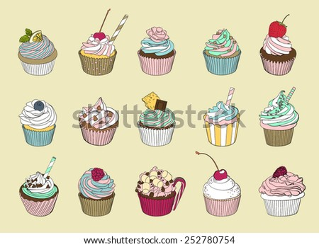Fifteen delicious yummy vector cupcakes - stock vector