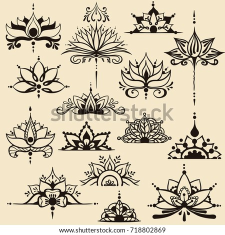 Fifteen freehand drawings lotus flowers east stock vector 718802869 fifteen freehand drawings of lotus flowers in east style can be used as a logo mightylinksfo