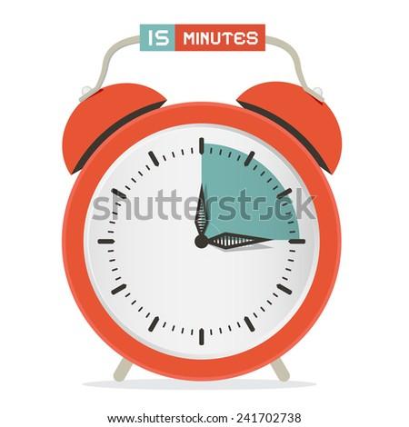 Fifteen Minutes Stop Watch - Alarm Clock Vector Illustration  - stock vector