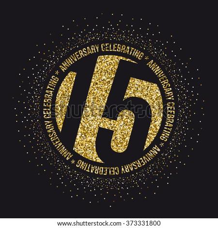 Fifteen years anniversary celebration logotype. 15th anniversary logo. - stock vector