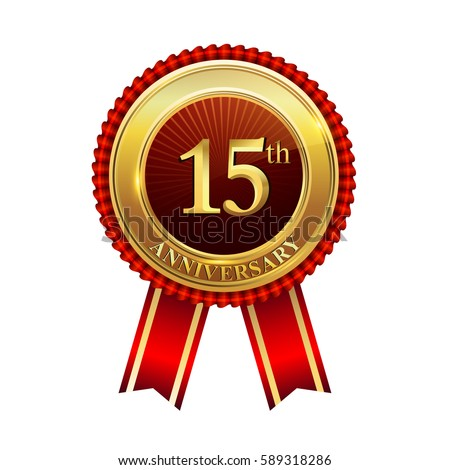Fifteen Years Birthday Celebration Logotype 15th Stock Vector