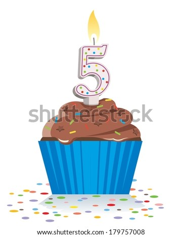 fifth birthday cupcake with lit candle in shape of number five  - stock vector