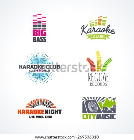 Fifth set of dj music equalizer logo vector. - stock vector