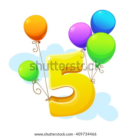 Fifth year happy birthday card child stock photo photo vector fifth year happy birthday card for child bookmarktalkfo Choice Image