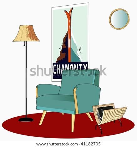 fifties blue armchair with wicker accessories - stock vector
