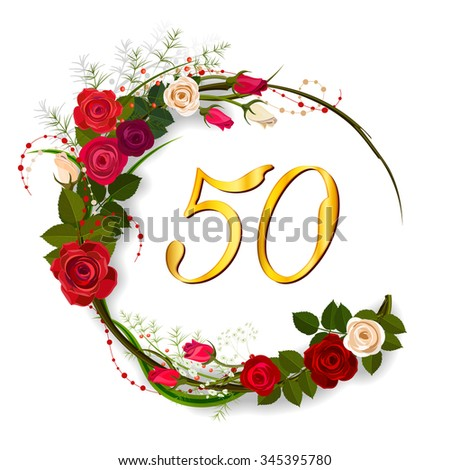 Fiftieth anniversary elegant template jubilee invitation stock photo fiftieth anniversary an elegant template for jubilee invitation with a tea roses and numbers in stopboris Choice Image