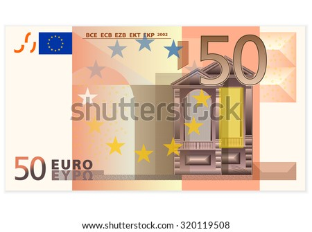 Fifty euro banknote on a white background. - stock vector