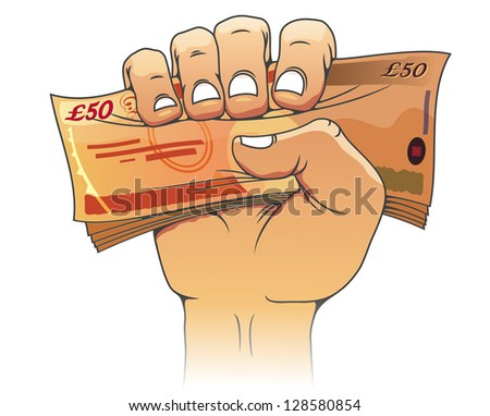 Fifty pounds banknote in people hand for wealth or finance concept. Jpeg version also available in gallery - stock vector