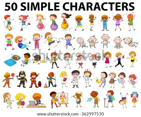 Fifty simple characters young and old illustration - stock vector