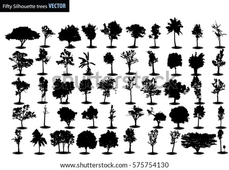 Fifty trees silhouettes Vector, Black tree Vector, Black tree silhouettes on white background, Silhouette of trees, Tree Branch, Silhouettes, Tree on white background, Vector trees in silhouettes