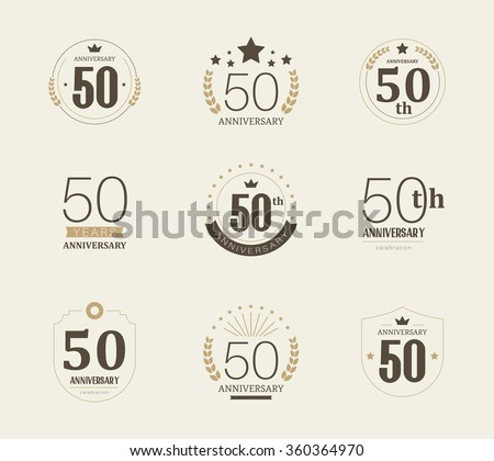 Fifty years anniversary celebration logotype. 50th anniversary logo collection. - stock vector