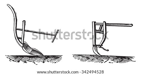 Fig no 820 Chinese plow arm, Fig no 821 Chinese plow paddy field, vintage engraved illustration. Industrial encyclopedia E.-O. Lami - 1875.  - stock vector