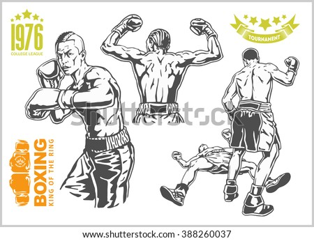Fight between two boxers - set of monochrome illustrations.Plus vintage boxing emblems, labels, badges, logos and designed elements. Monochrome style.