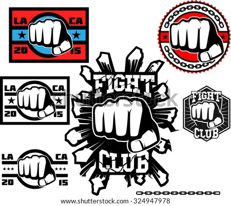 Fight club logo set. Mixed martial arts. Boxing, kickboxing, punch, hit sports logo. - stock vector
