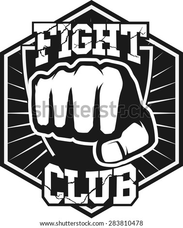 Fight club MMA UFC Mixed martial arts fighting logo stamp  - stock vector