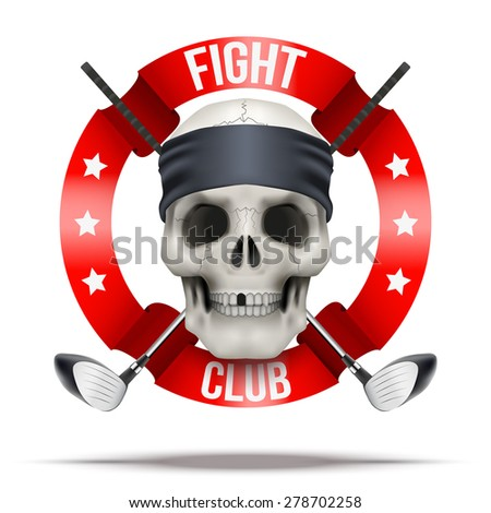 Fight club or team. Skull with golf clubs. Vector Illustration isolated on background. - stock vector