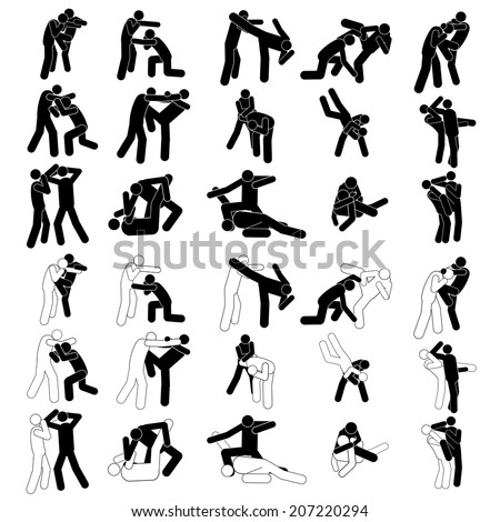 Fight Fighter Muay Thai Boxing Kick Punch Grab Throw People Icon Sign Symbol Pictogram. Muay Thai Boran martial art vector illustration collection - stock vector