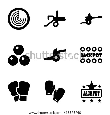 Fight icons set. set of 9 fight filled icons such as radar, jackpot, boxing gloves, canon ball