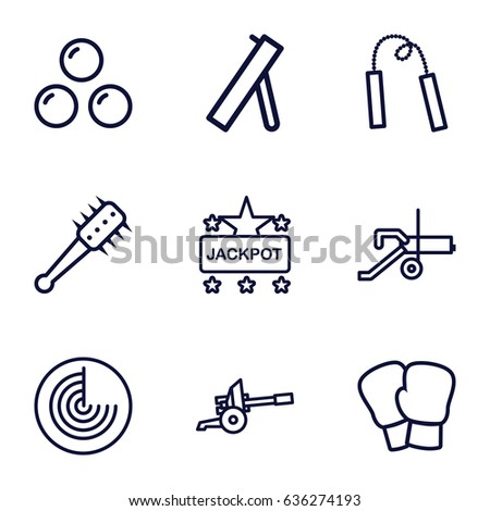 Fight icons set. set of 9 fight outline icons such as radar, jackpot, mace, canon ball, chain weapon, cannon