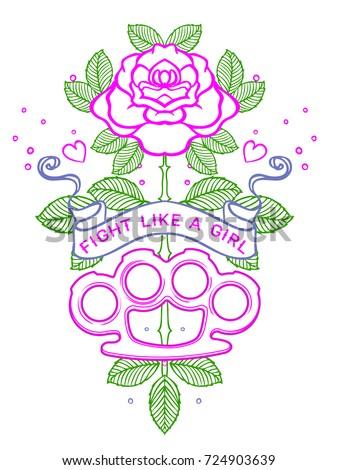 Fight like girl tattoo old school stock vector 724903639 for Fight like a girl tattoos pictures