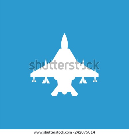 fighter airplane outline icon, isolated, white on the blue background. Exclusive Symbols  - stock vector