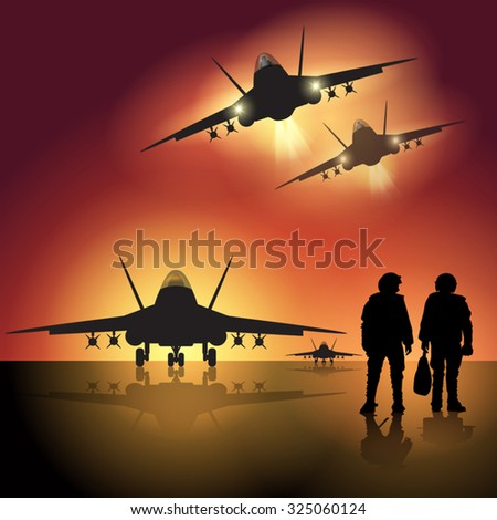 Fighter jet before take off. Vector illustration - stock vector