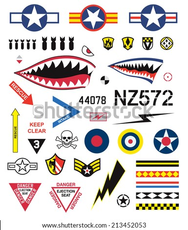 Fighter planes emblem set