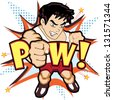 Fighter punch vector concept - stock vector