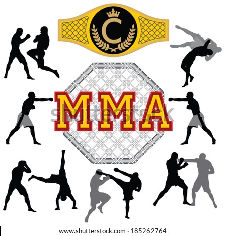 Fighters silhouettes.Martial arts. - stock vector