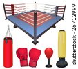 fighting accessories vector set - stock