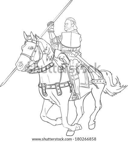 Fighting knight on horseback - Illustration Vector illustration of fighting knight on horseback - black and white - stock vector