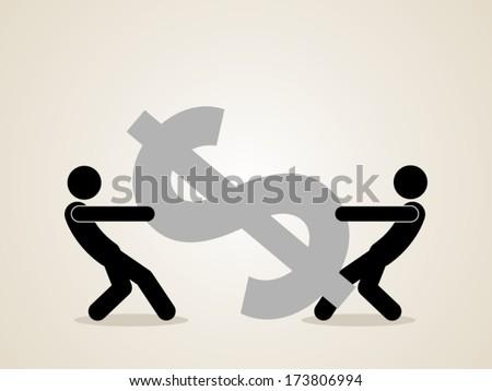 fighting over money - stock vector