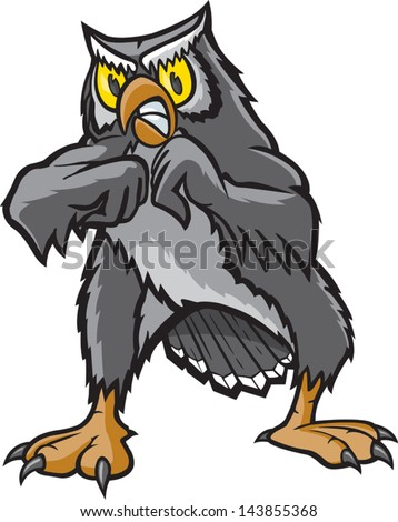 Fighting Owl. A vector cartoon of a Owl ready for a fight. - stock vector