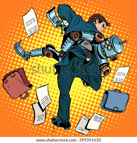 Fighting robot and human, artificial intelligence, new technolog - stock vector