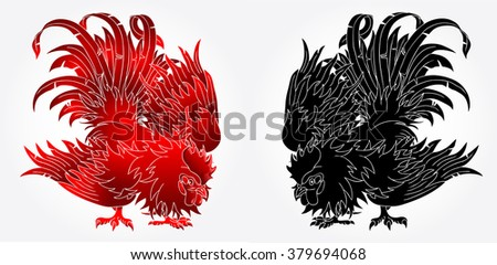 Fighting rooster black and red version