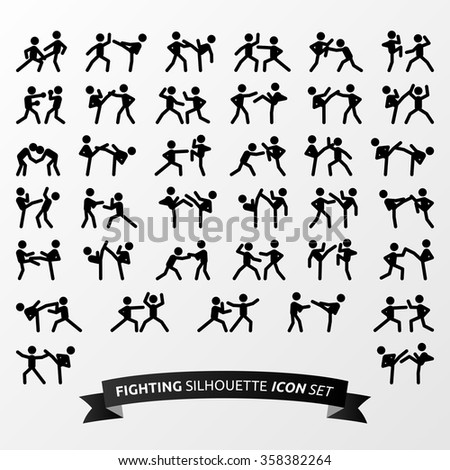 Fighting silhouette icon set - stock vector