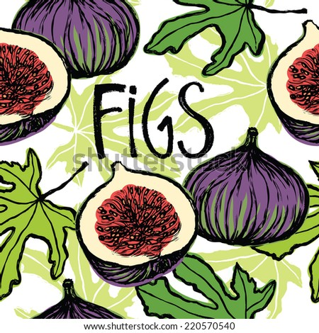 Figs seamless pattern - stock vector