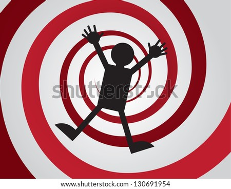Figure falling down red spiral - stock vector