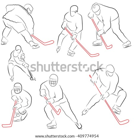 figure hockey players, hockey sticks