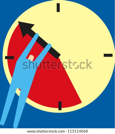 Figure holds back the hand of a clock - stock vector