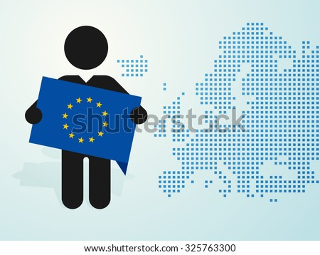 figure man holds EU flag europe map background - stock vector