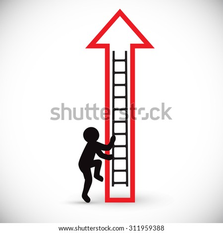 Figure of a man climbs up stairs and red arrow. Concept of business rise or scheme. Isolated on white background.