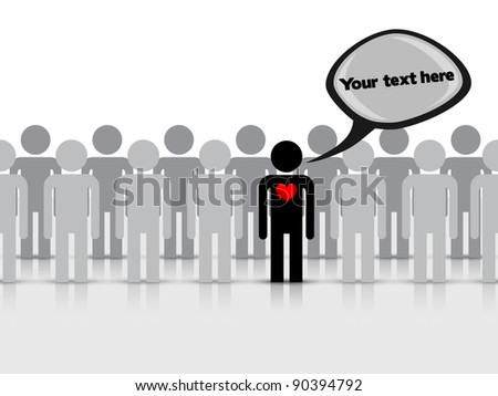 Figure of a man with a red heart on background the crowd Vector illustration