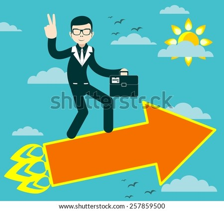 Figure of Successful businessman with victory sign flying on arrow Stock Vector illustration - stock vector