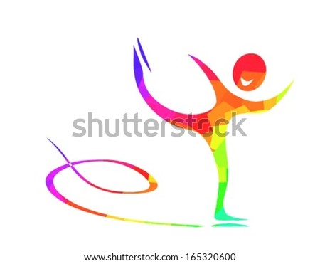 figure skating pictogram in blue purple red yellow green on white background