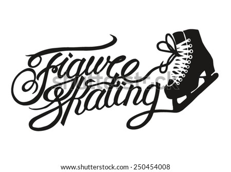 Figure skating vintage lettering. - stock vector