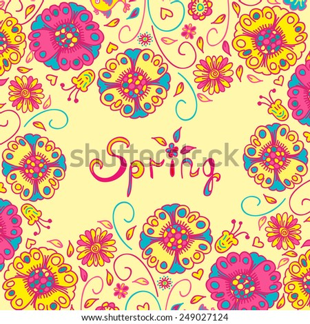 Figure spring flowers, colorful background. Vector illustration  with three flowers. - stock vector