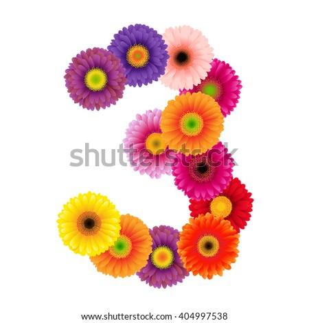 Figure Three Of Flowers, Vector Illustration - stock vector